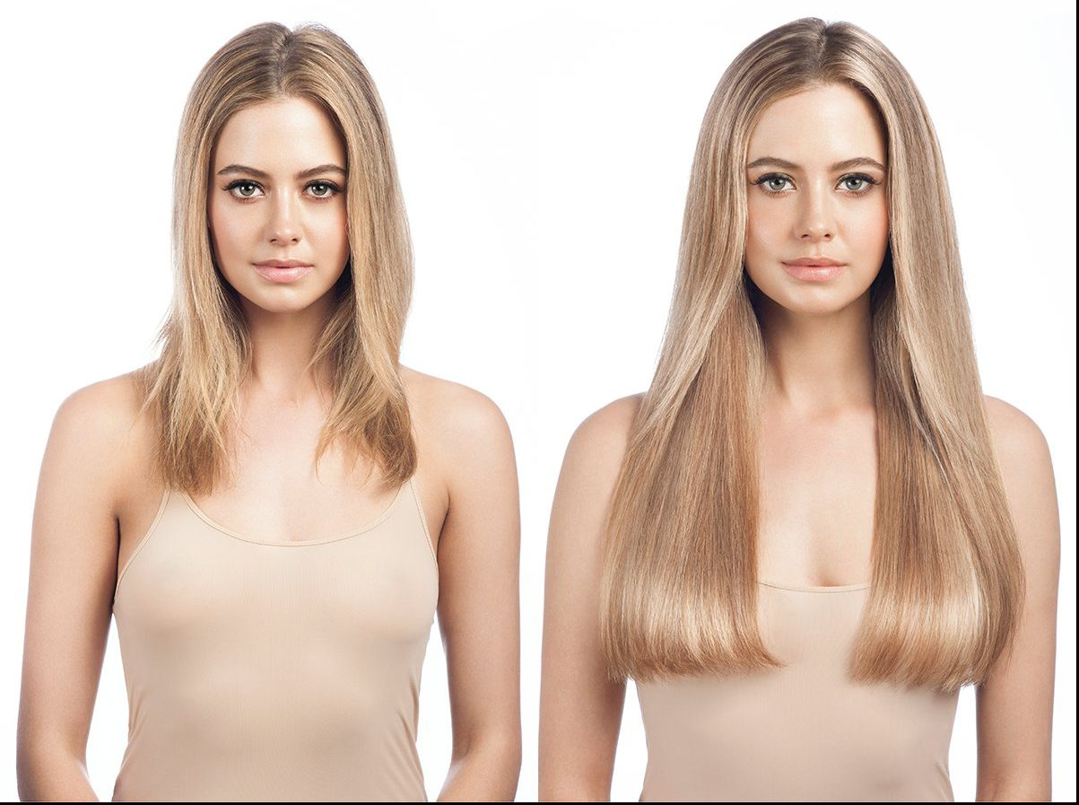 blonde-clip-in-hair-extensions-before-and-after-front-facing